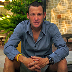 Portrait of Lance Armstrong, American cyclist for cover of Austin Monthly magazine, shot on location, Austin, TX