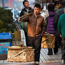 Street life in downtown Shanghai, China